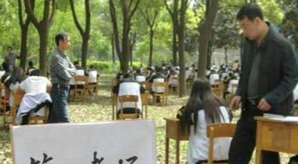 ujian di hutan menghindari siswa mencontek